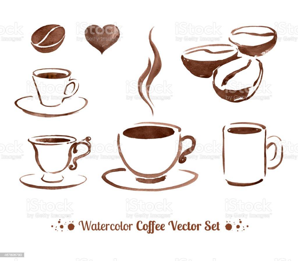 Watercolor coffee. vector art illustration
