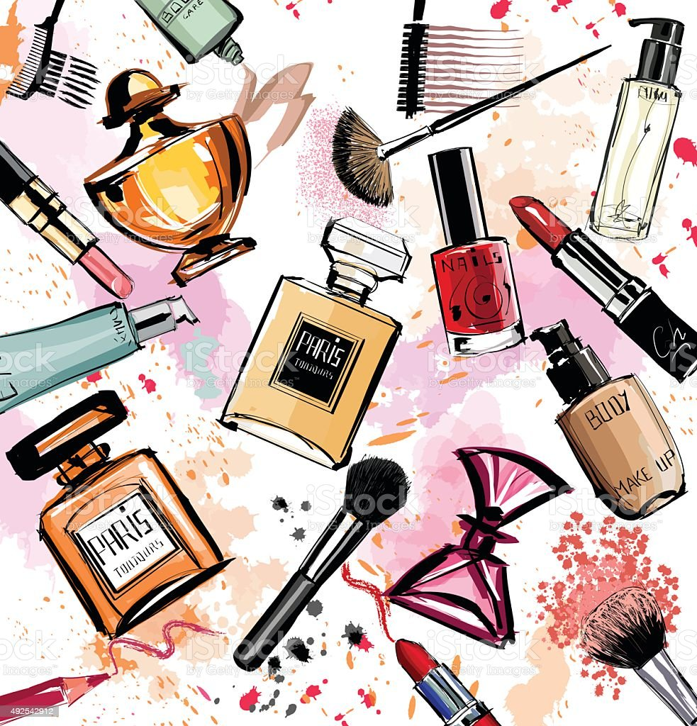 Watercolor cosmetics and perfumes collection vector art illustration