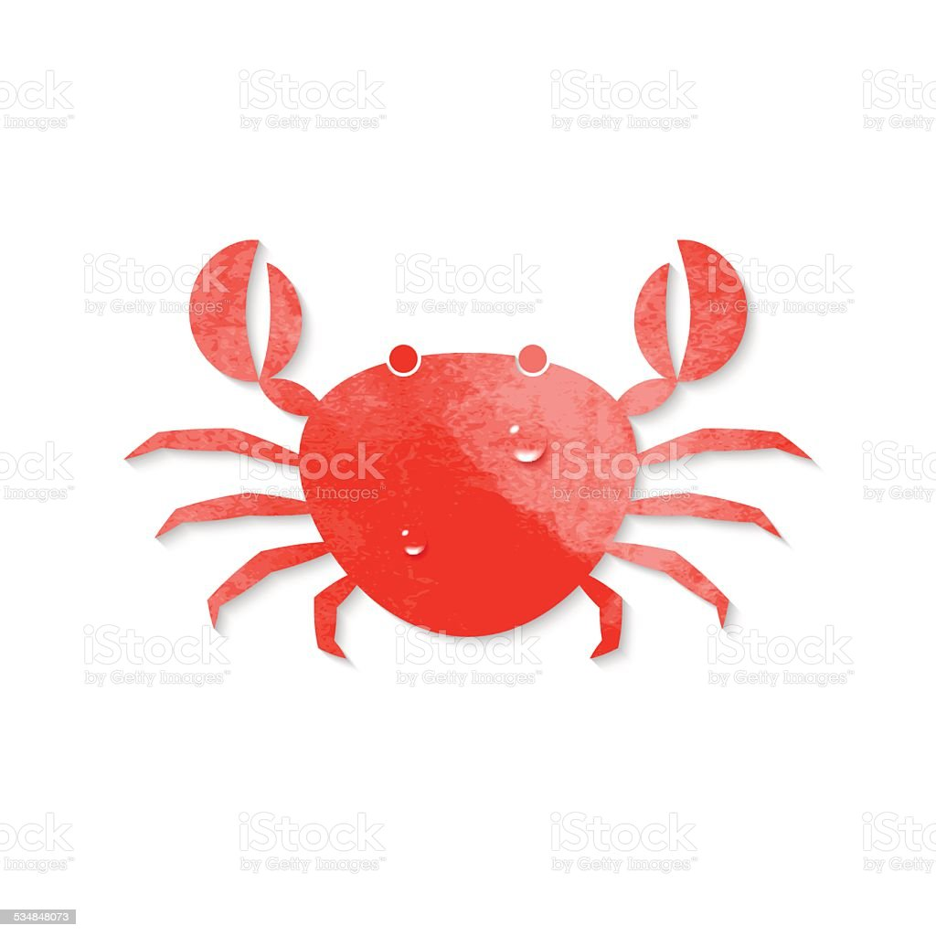 Watercolor crab vector art illustration