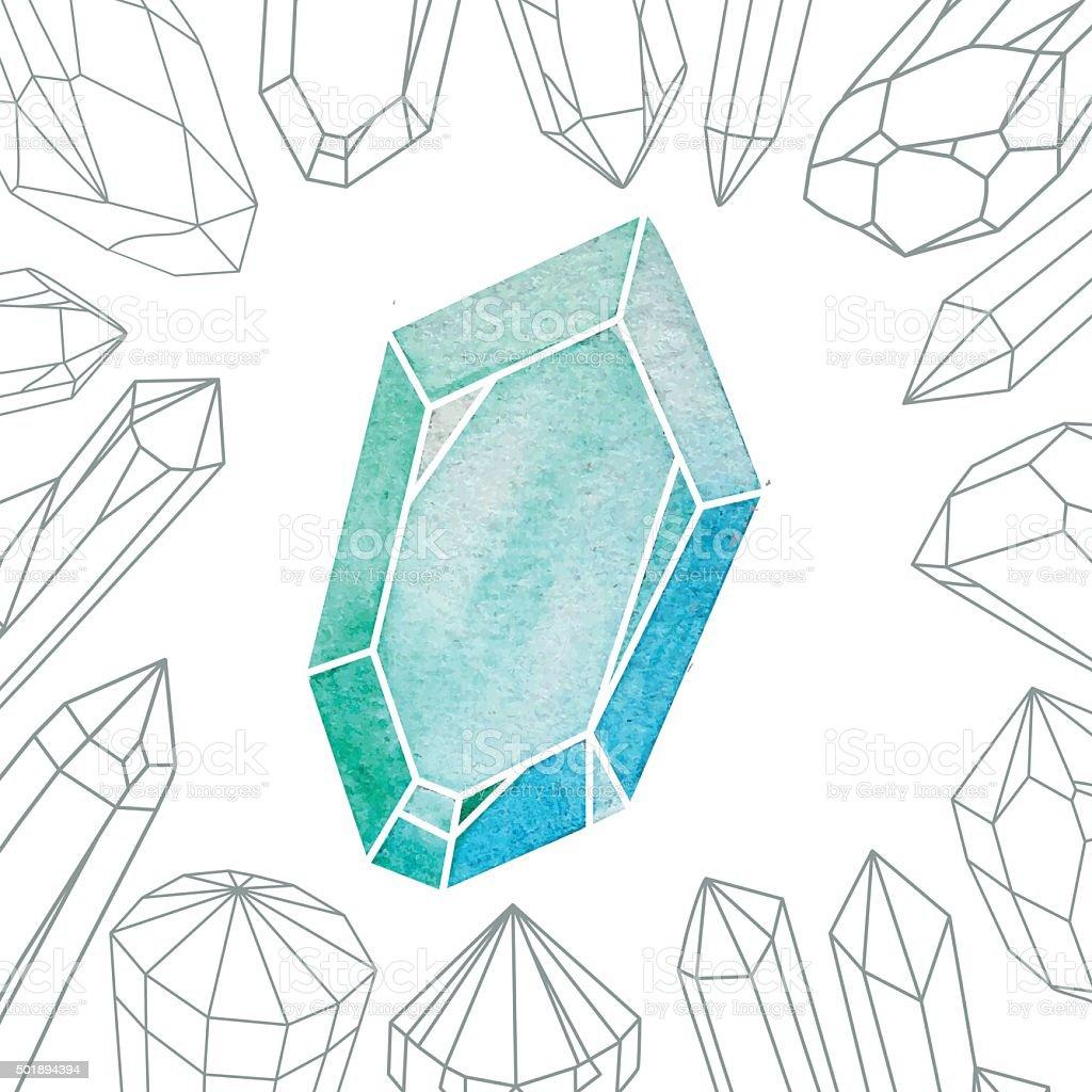 Watercolor Crystal vector art illustration