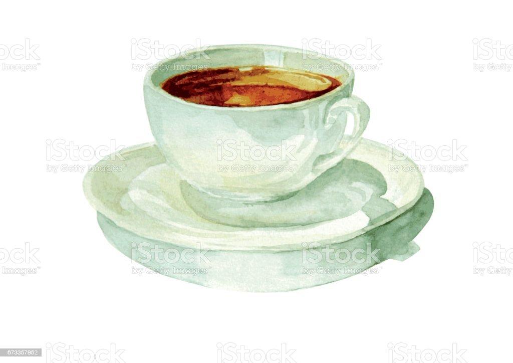watercolor cup of tea vector art illustration