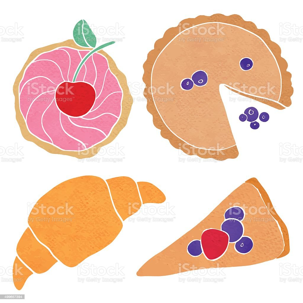 Watercolor cupcake, cake, piece, croissant vector art illustration