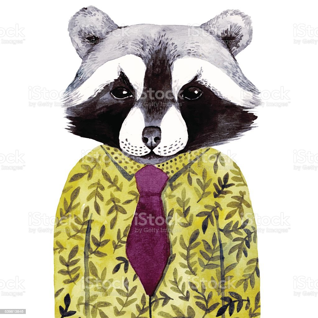 Watercolor cute illustration with raccoon in green shirt. vector art illustration