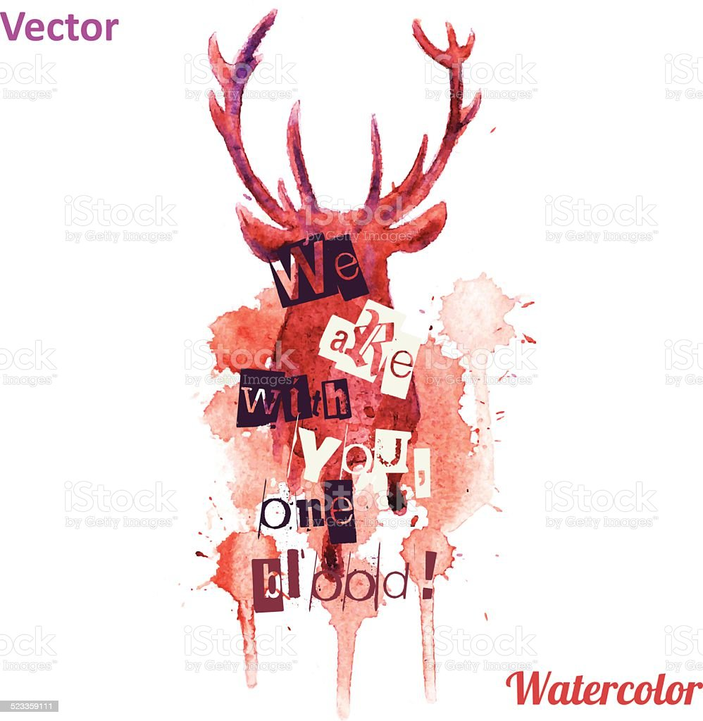 Watercolor deer head with inscriptions Vector on the white background. vector art illustration