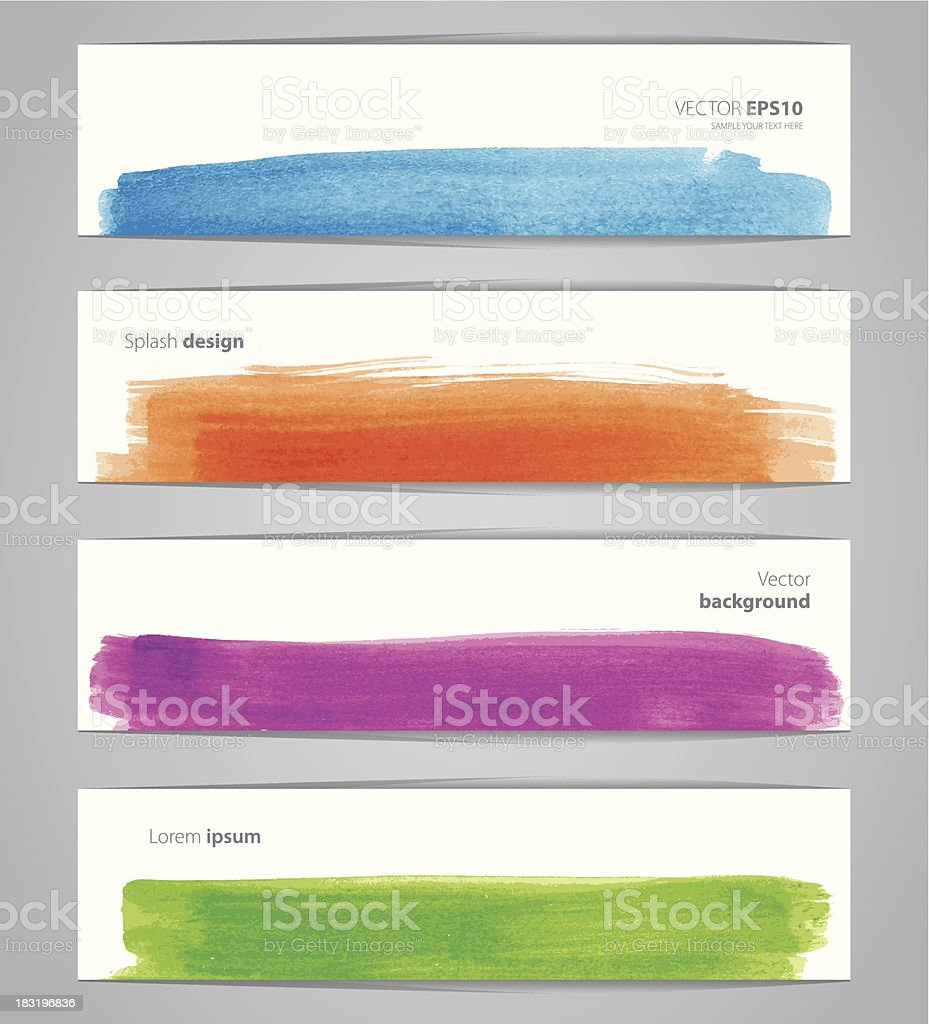 Watercolor design banners vector art illustration