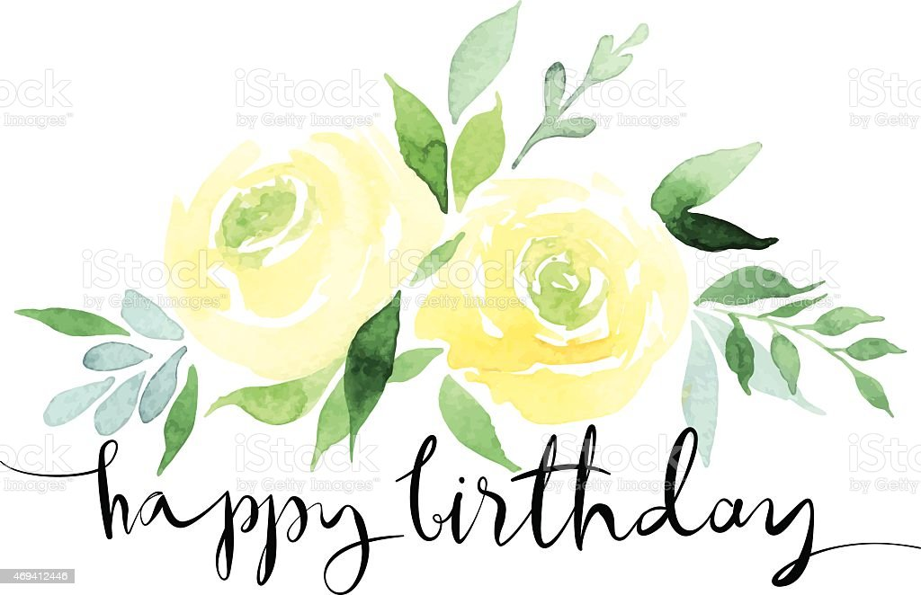 A watercolor design of yellow roses with happy birthday vector art illustration
