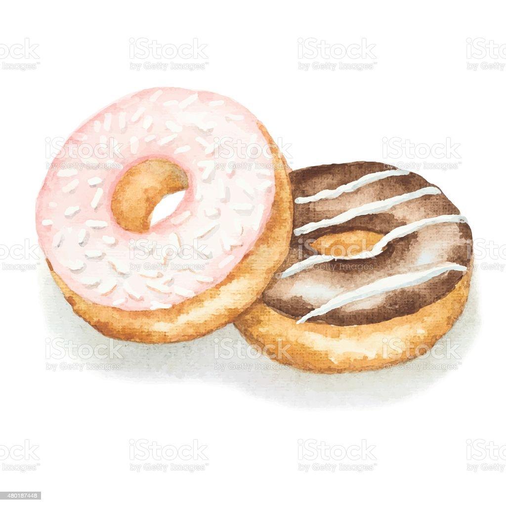 Watercolor donuts vector art illustration