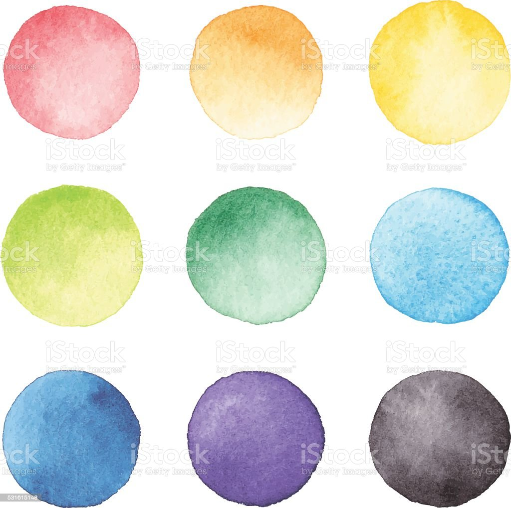 Watercolor Dots vector art illustration