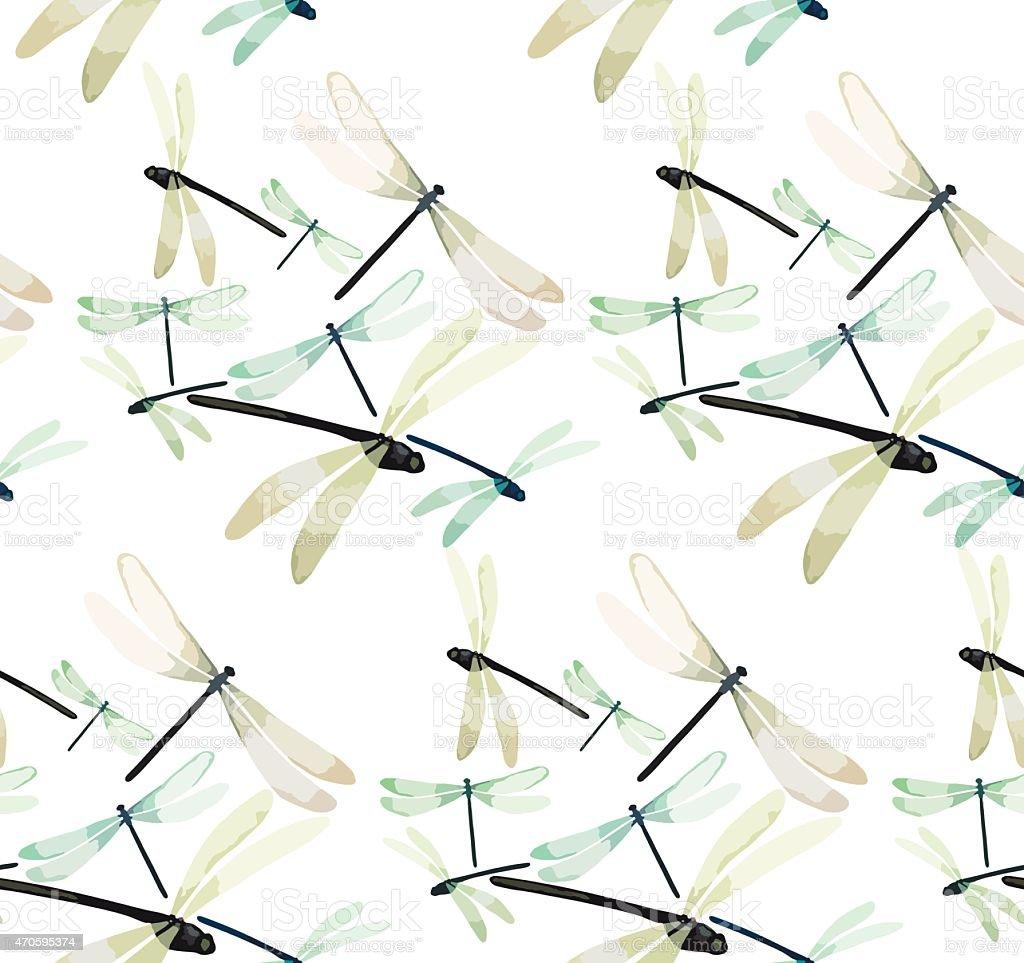 Watercolor dragonflies vector art illustration