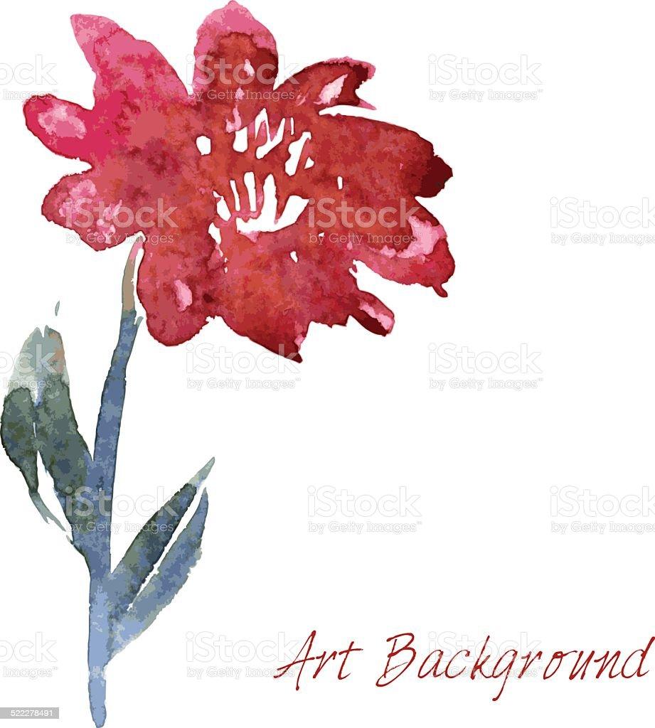 watercolor drawing flower vector art illustration