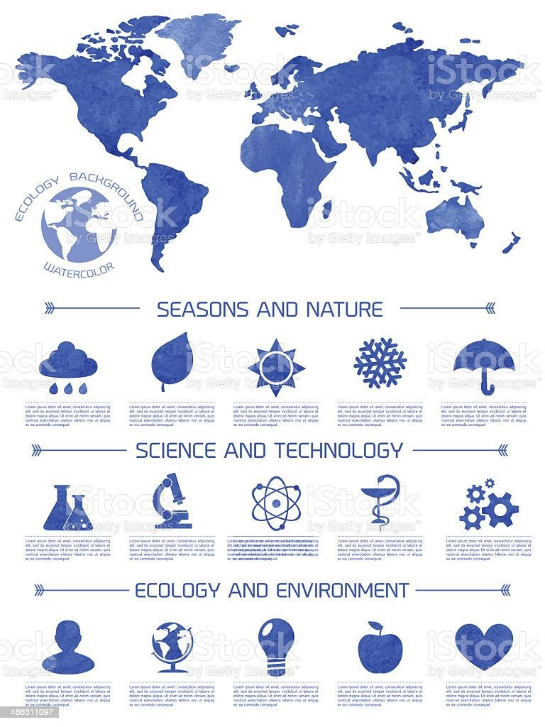 Watercolor ecology infographic background royalty-free stock vector art
