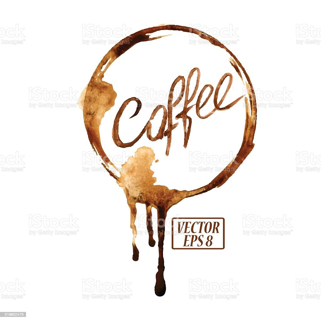 Watercolor emblem with coffee stains vector art illustration