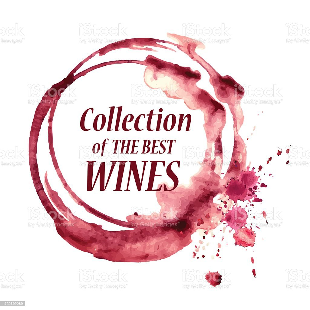 Watercolor emblem with wine stain vector art illustration