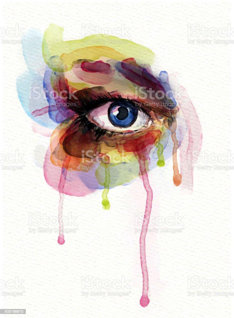 Watercolor Eye vector art illustration