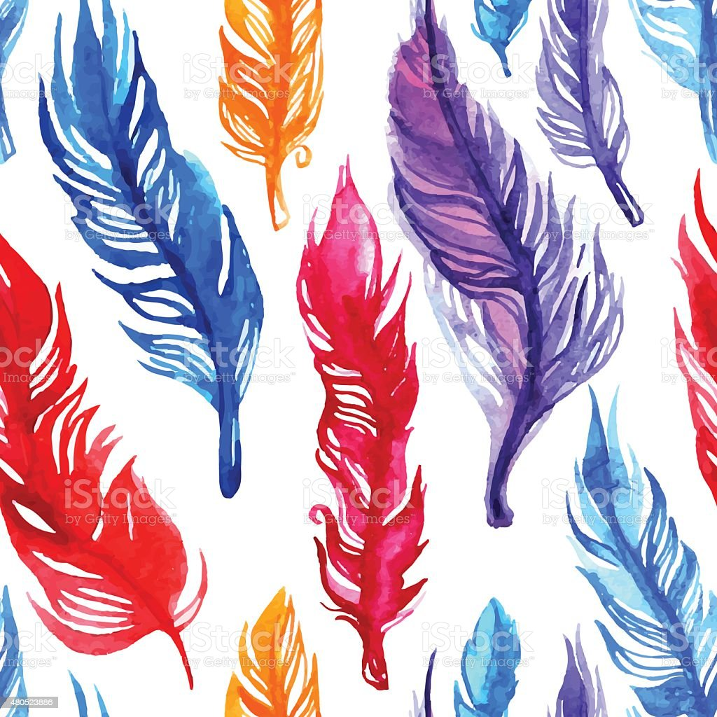 Watercolor feather pattern vector art illustration