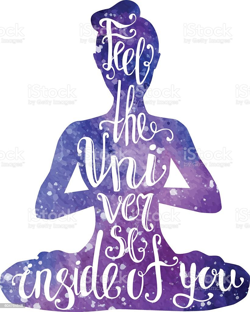 Watercolor female silhouette in yoga position with lettering vector art illustration