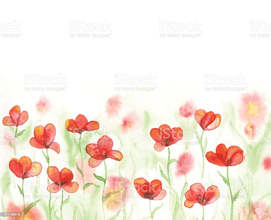 Watercolor field with red poppies vector art illustration