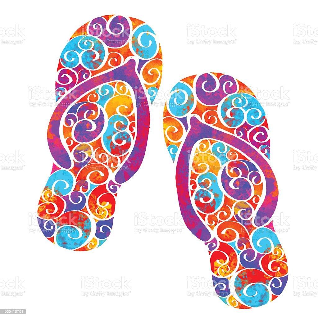 Watercolor flip flop sandals, beach shoes closeup isolated vector art illustration