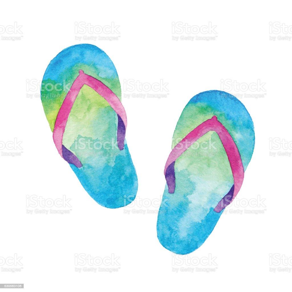 Watercolor flip flop vector art illustration