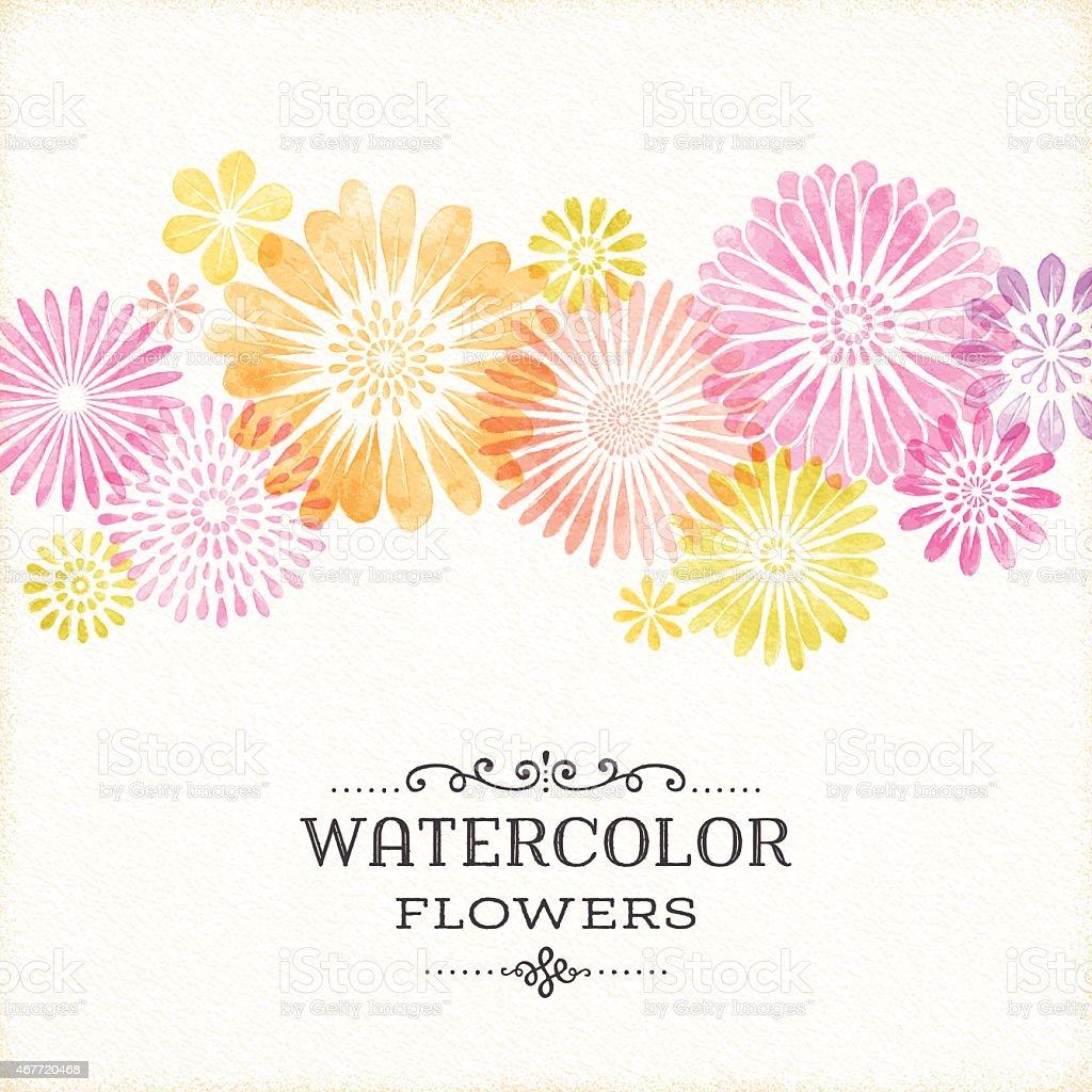 Watercolor Floral Border vector art illustration