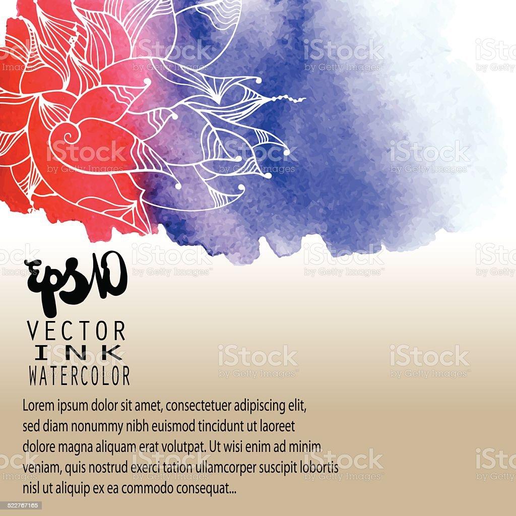 Watercolor floral card vector art illustration
