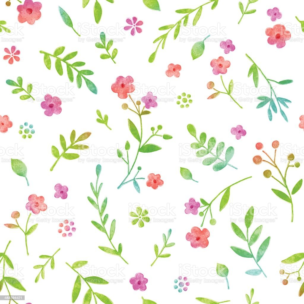 Watercolor Floral Seamless Pattern vector art illustration