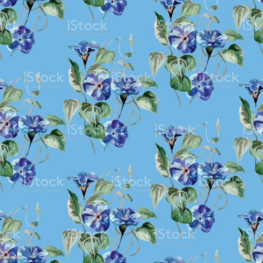 Watercolor floral seamless pattern with flowers and leafs. vector art illustration