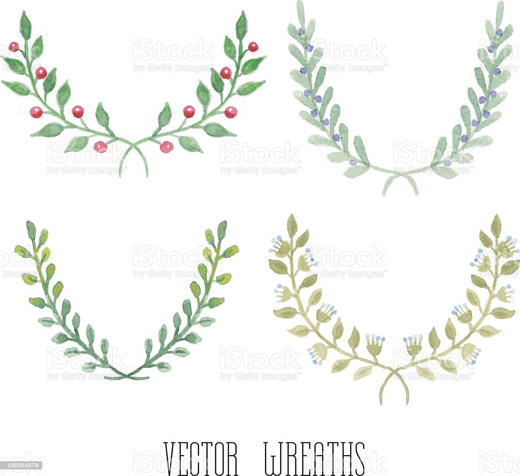Watercolor floral set of wreaths vector art illustration