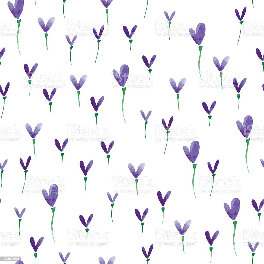 Watercolor flower nature pattern vector art illustration