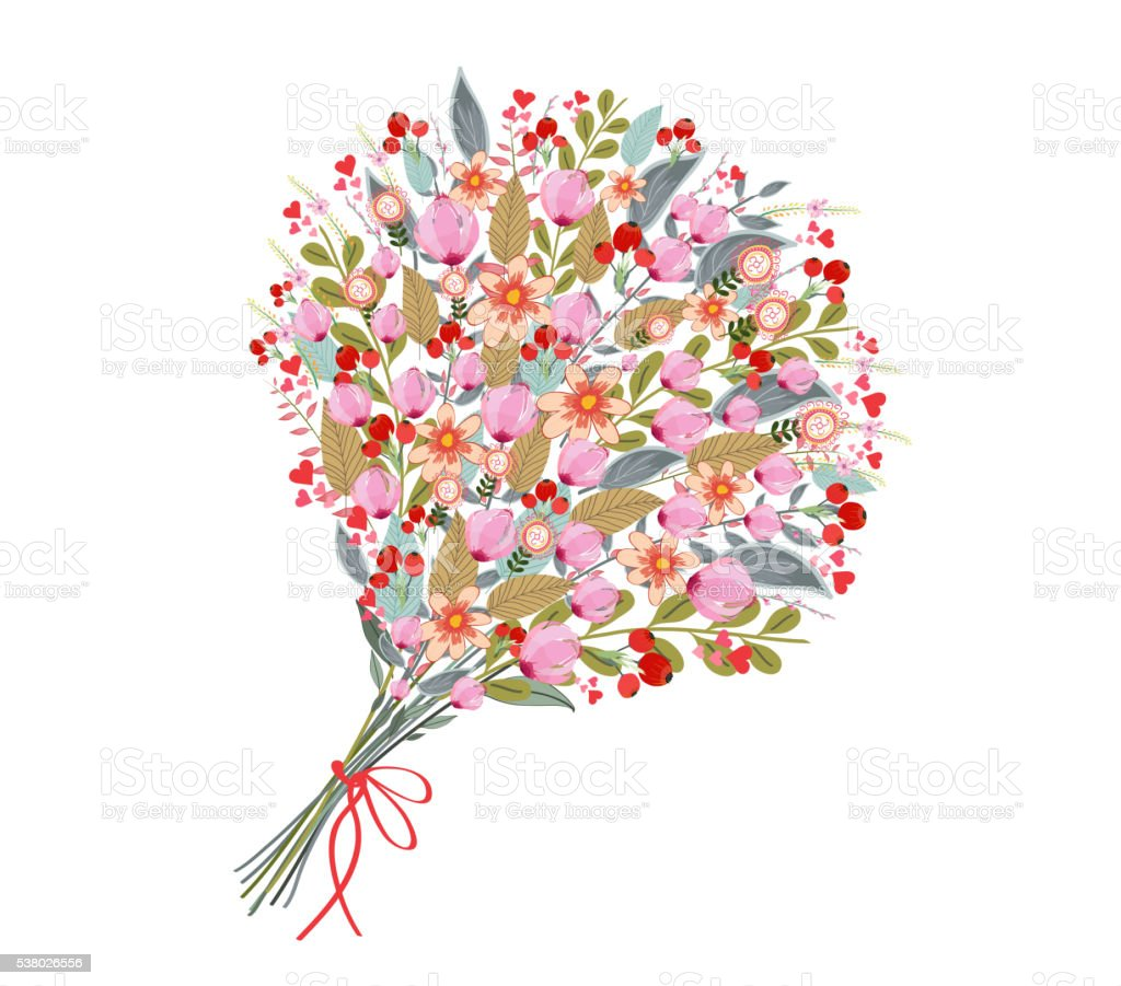 Watercolor flowers bouquet, on white background vector art illustration