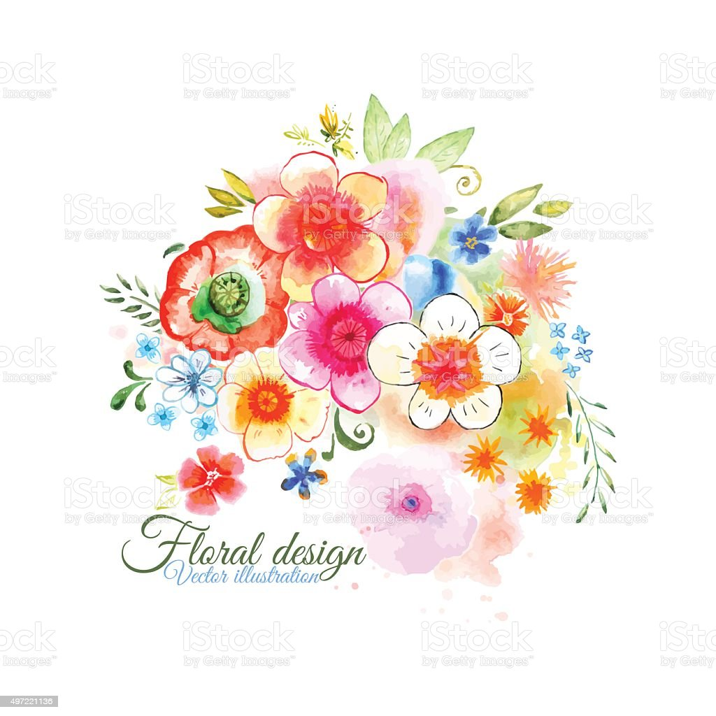 Watercolor flowers. Bouquet. vector art illustration