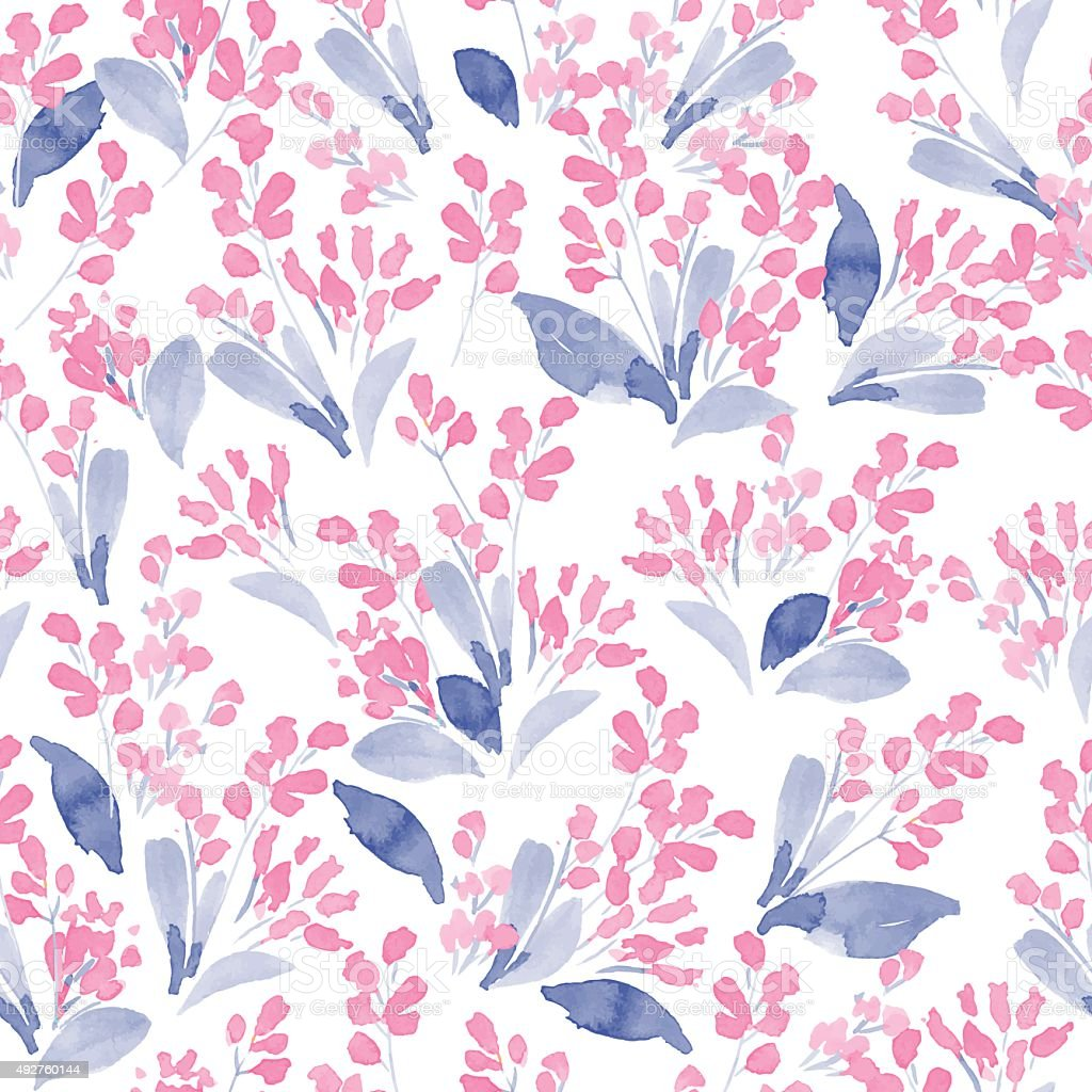 Watercolor flowers colorful seamless pattern. Vector illustration vector art illustration