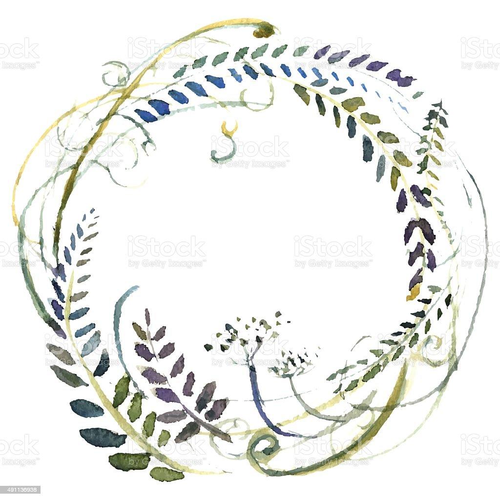 Watercolor flowers wreath. vector art illustration