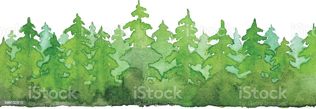 Watercolor Forest vector art illustration