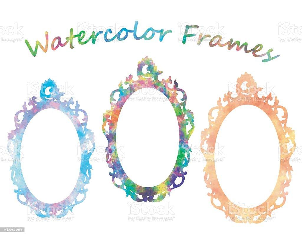Watercolor Frames vector art illustration