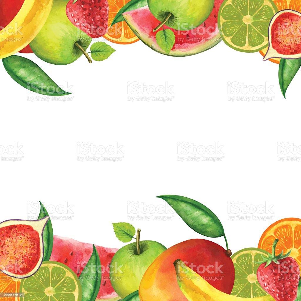 Watercolor fruits, berries, leaves vector art illustration