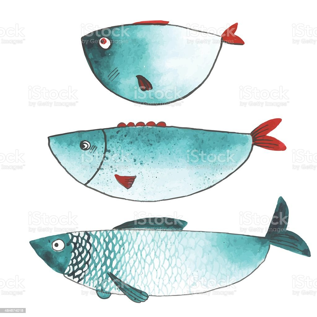 Watercolor funny fishes vector art illustration