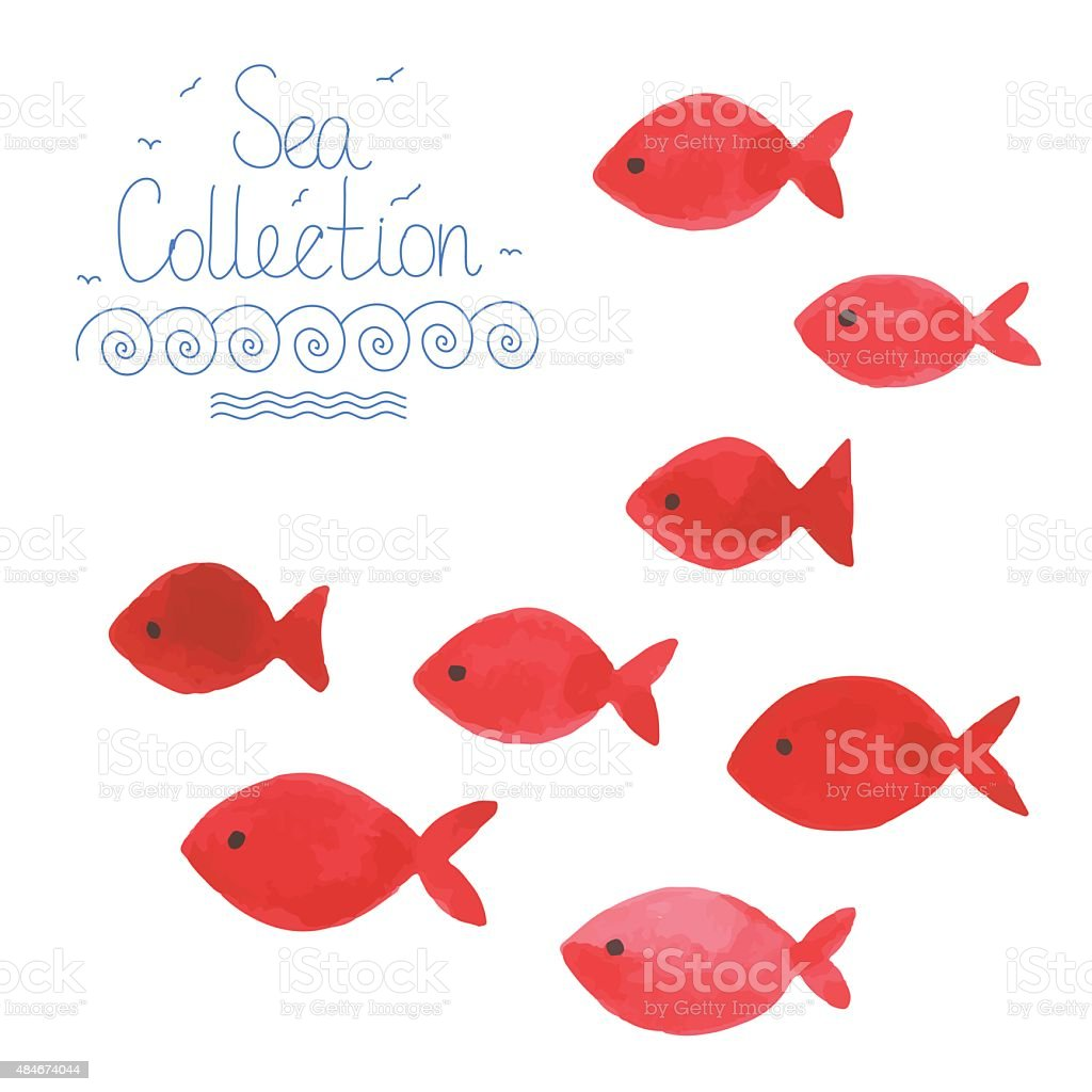 watercolor funny fishes stock vector art 484674044 istock