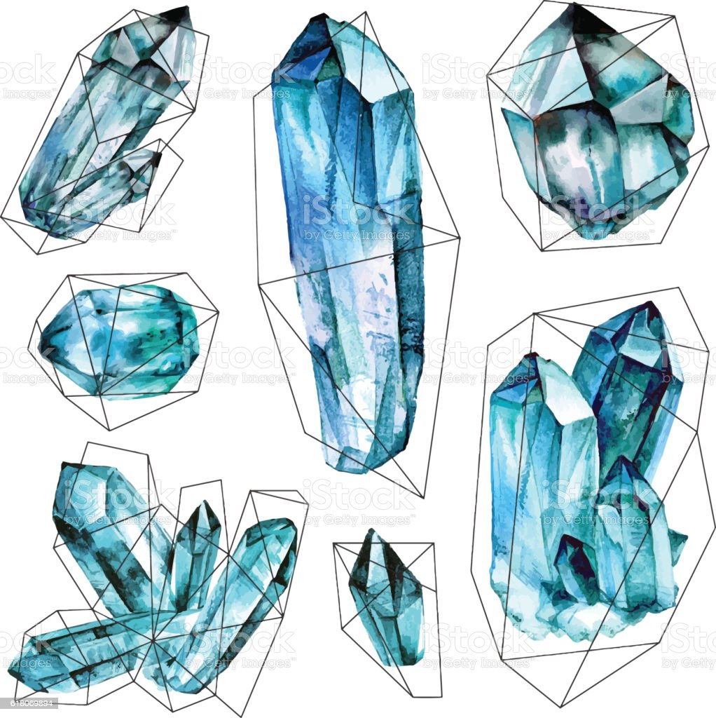 Watercolor Gems collection in polygonal frames. vector art illustration