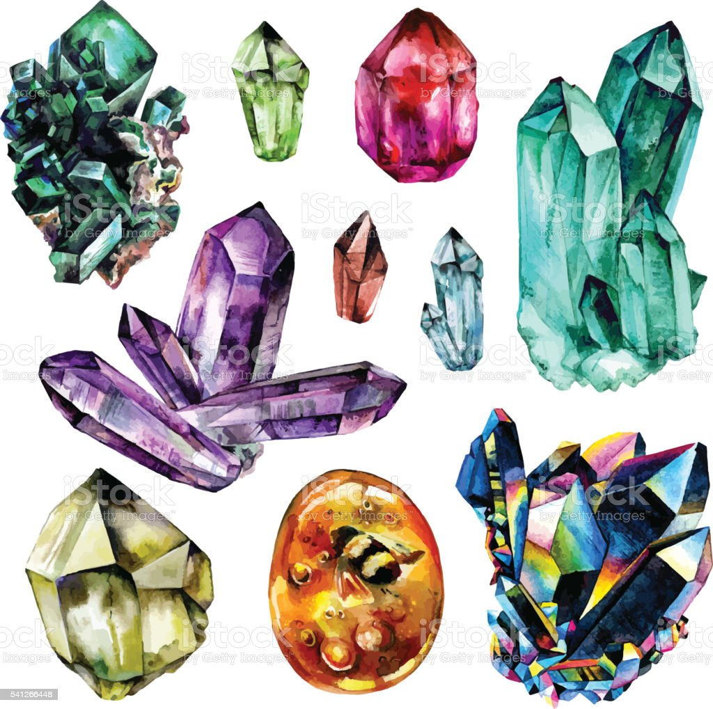 Watercolor Gems collection vector art illustration