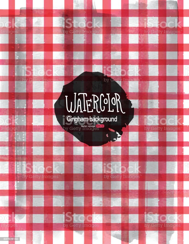 Watercolor Gingham or checkered pattern background vector art illustration