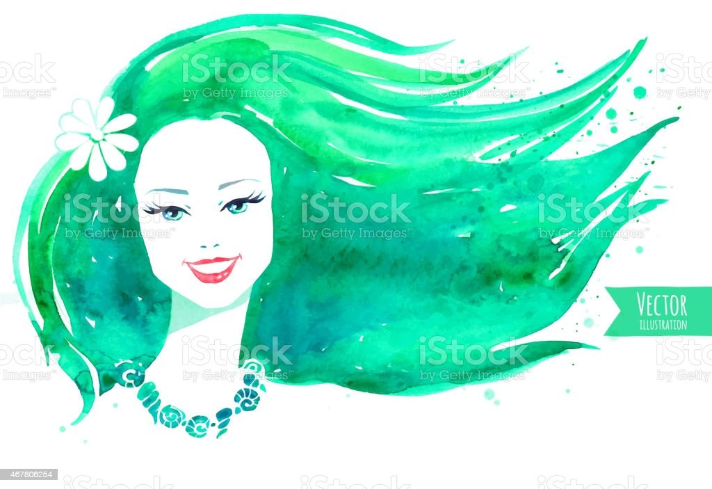 Watercolor girl. Vector illustration. vector art illustration