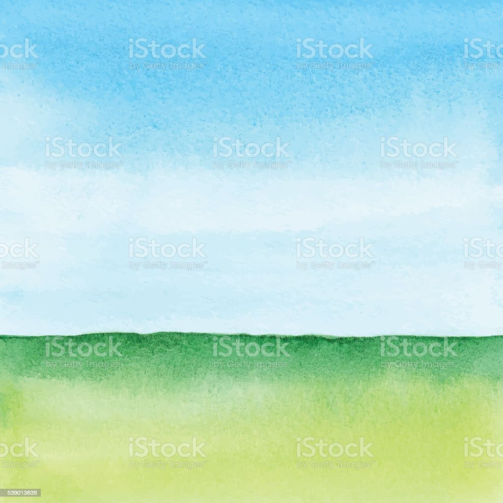 Watercolor Green Landscape vector art illustration