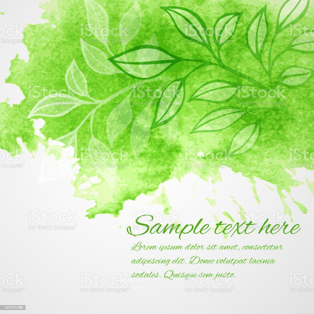 Watercolor green leaf design element. Vector illustration vector art illustration