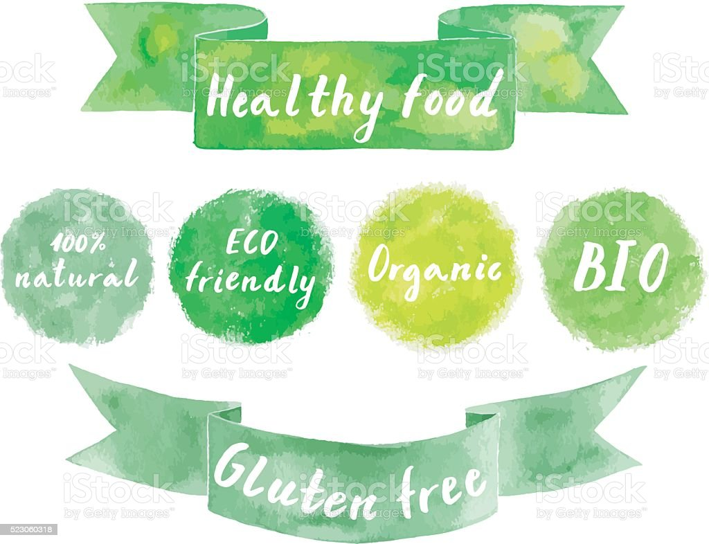 Watercolor green logos set. vector art illustration