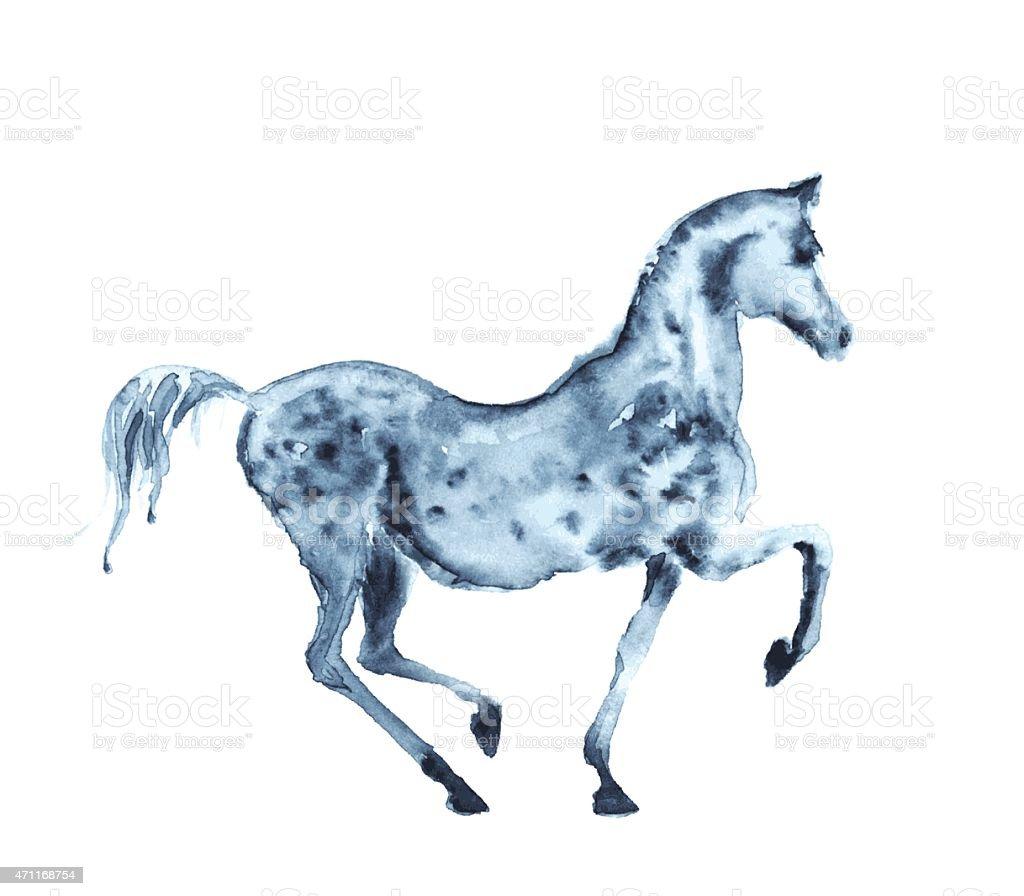 Watercolor grey horse on white vector art illustration