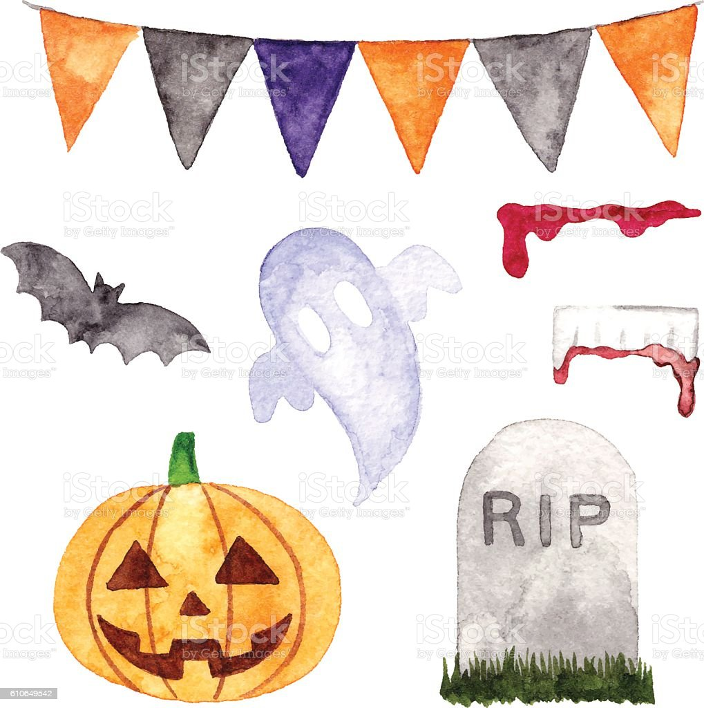 Watercolor Halloween Decoration vector art illustration