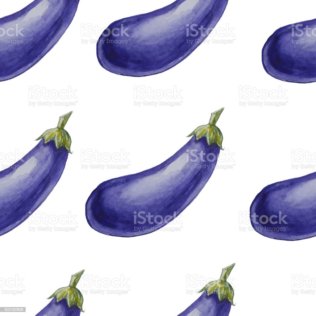 Watercolor hand drawn seamless pattern with eggplants. vector art illustration