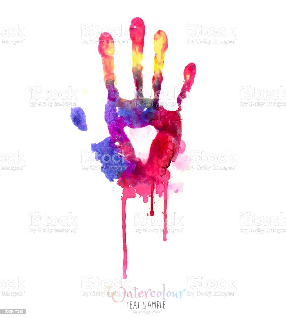 Watercolor Hand Illustration vector art illustration