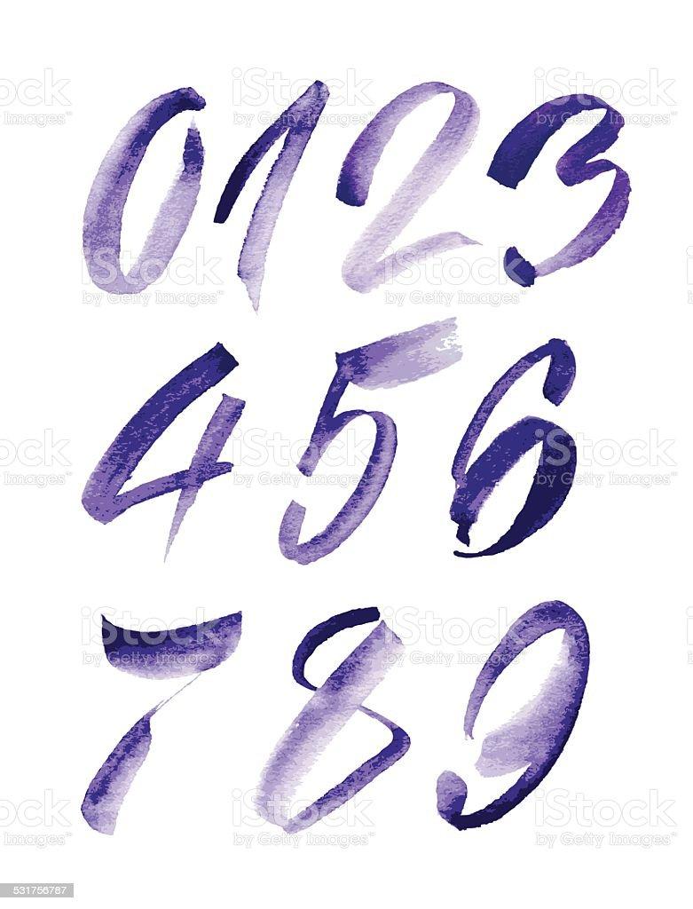 Watercolor hand written purple numbers. Vector illustration vector art illustration